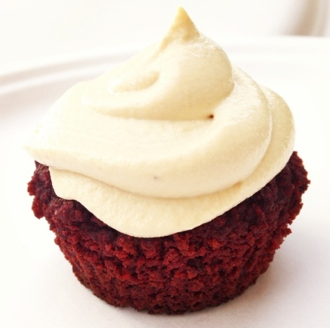 "Paleo Red Velvet Cupcake with Cream ""Not Really Cheese"" Frosting"