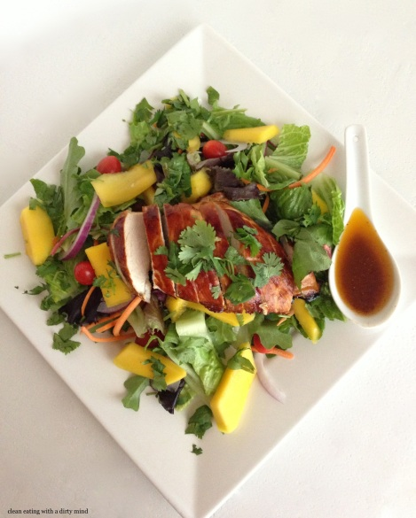 Paleo Honey Glazed Chicken and Mango Salad