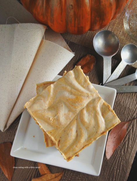 Paleo Pumpkin Swirl Cheesecake Squares