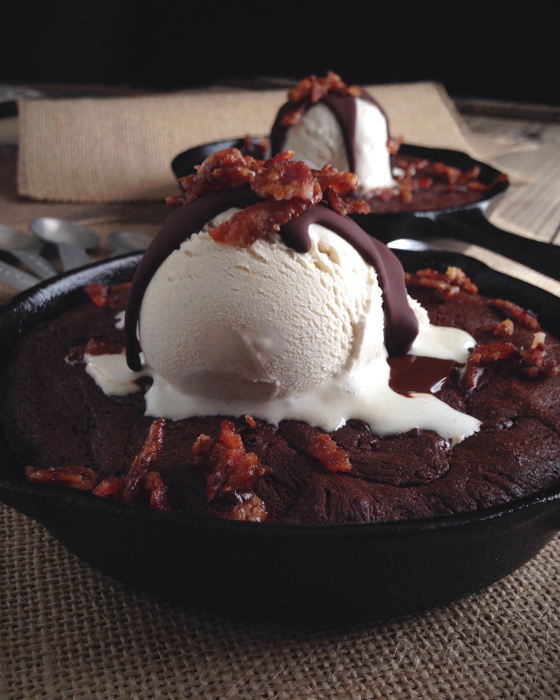 Paleo skillet brownie sundaes with brown sugar bacon crumbles paleo skillet brownie sundae malvernweather Gallery